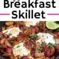 healthy breakfast skillet with eggs and veggies