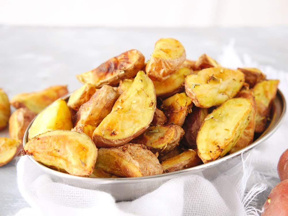 Air fryer roasted potatoes in a small bowl