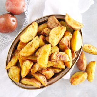 Overhead shot of a bowl of roasted potatoes made in the air fryer