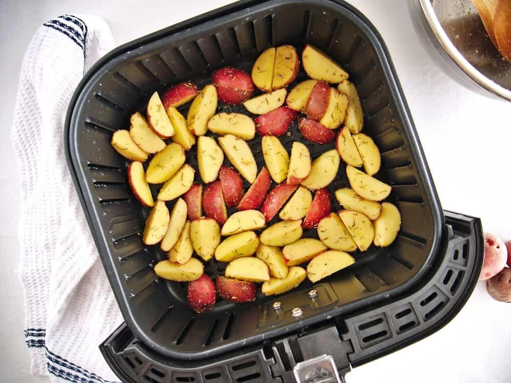 Potatoes in the air fryer basket