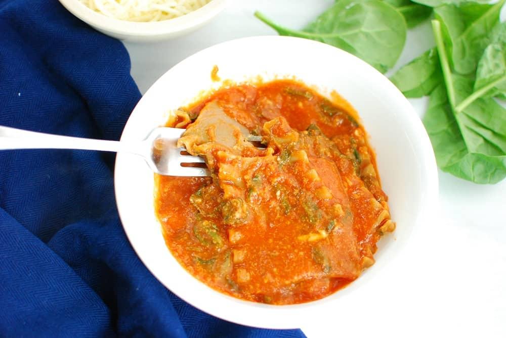 Single serve lasagna in a white bowl