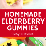 A star shaped gummy bear and the ingredients needed to make elderberry gummies