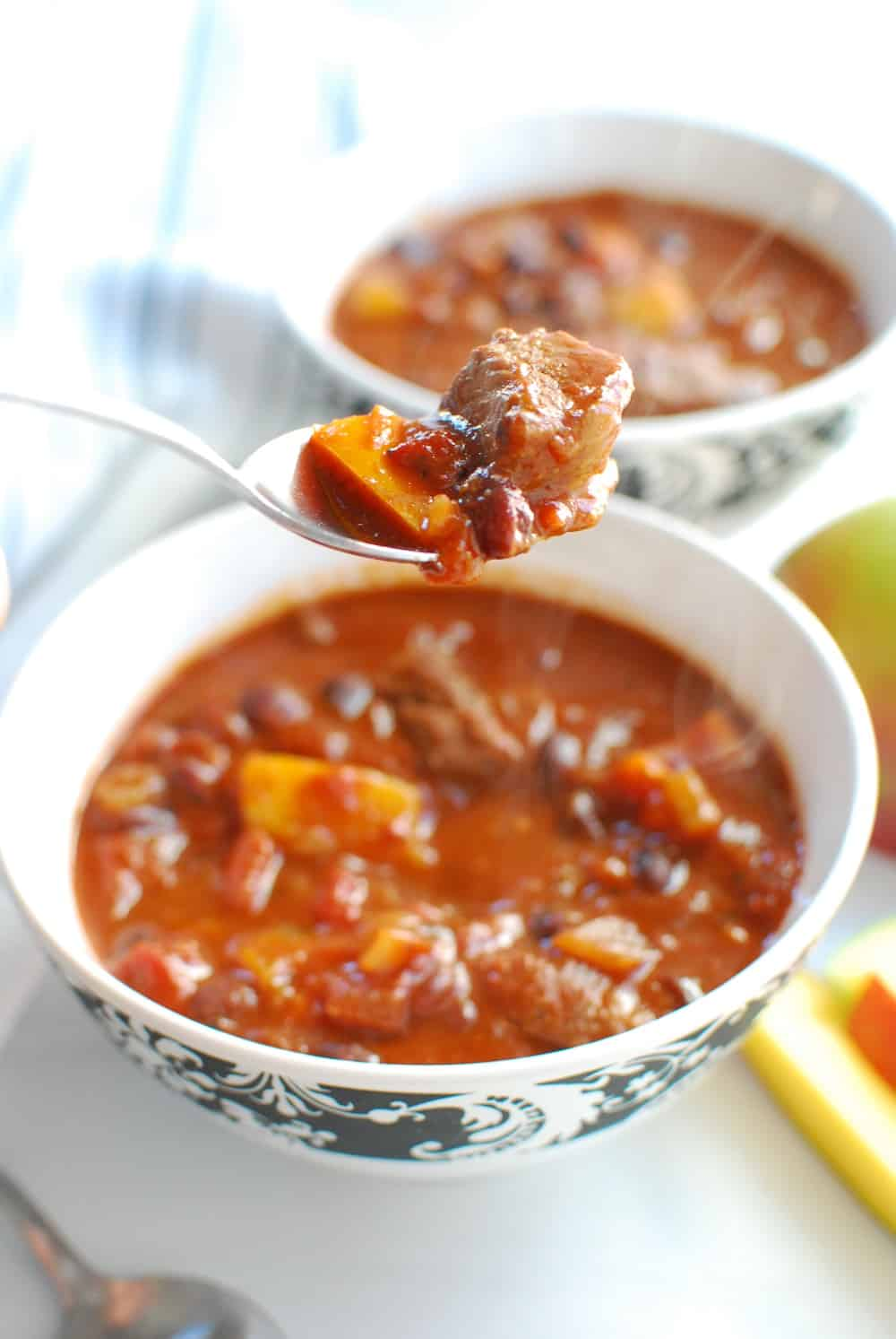 a spoonful of steak mango chili