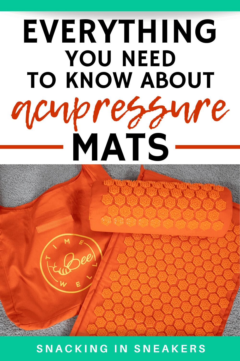 an orange acupressure mat, pillow, and carrying case