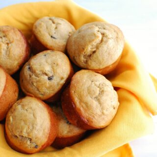 a bowl full of banana protein muffins