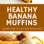 several overripe bananas and two muffins stacked on top of each other