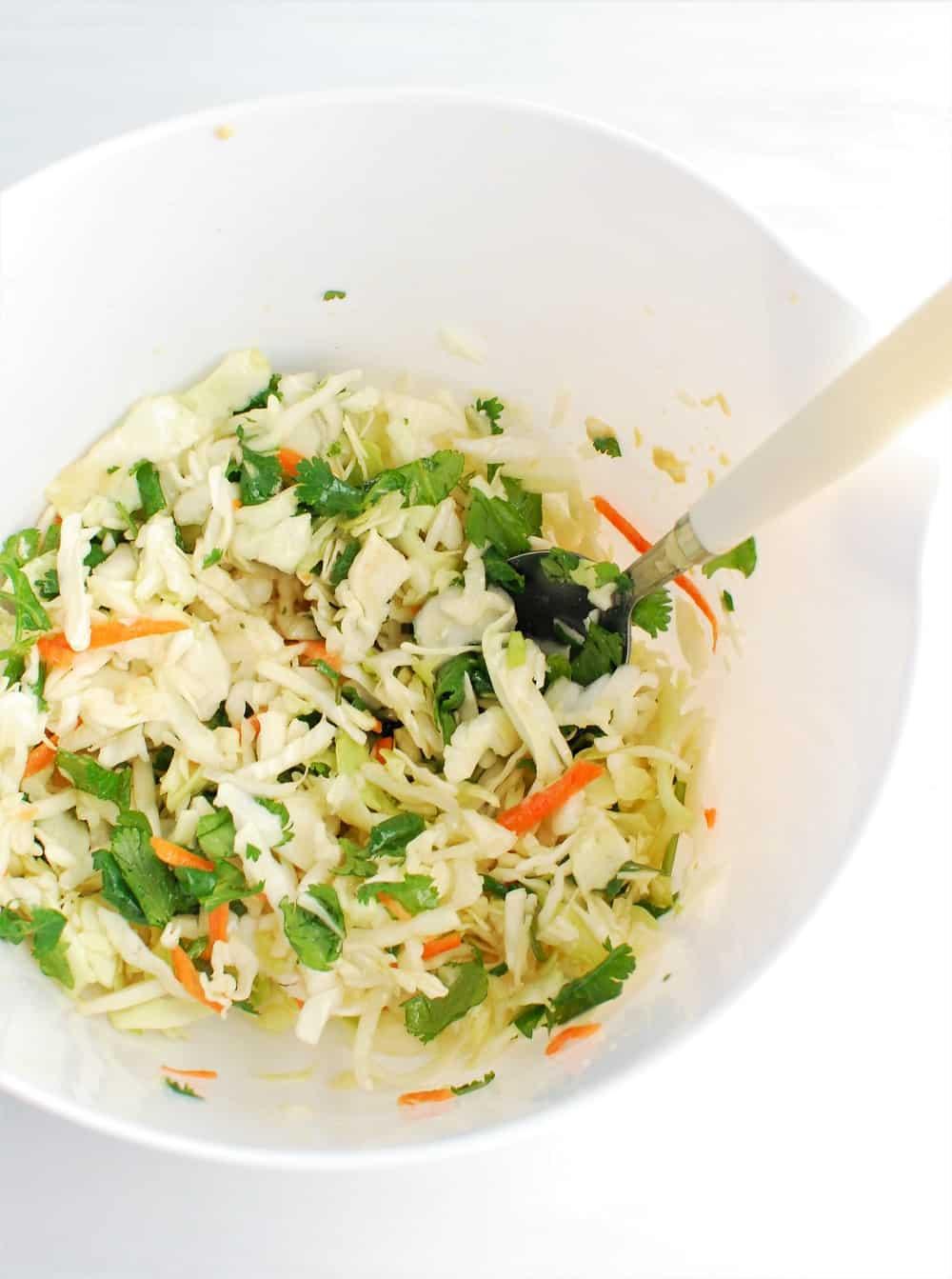 a white bowl full of cabbage slaw