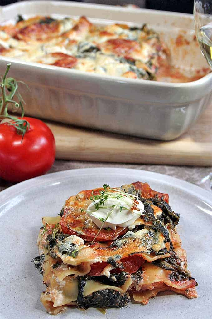 a plate full of vegetarian lasagna