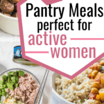 three different easy pantry meals - energy balls, tuna sushi bowls, and chickpea curry