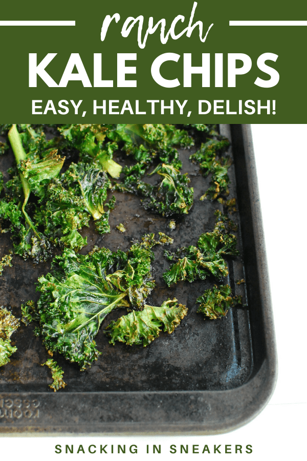 a baking sheet full of cooked ranch kale chips