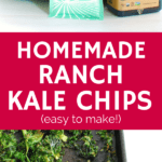 collage image of ingredients and cooked kale chips