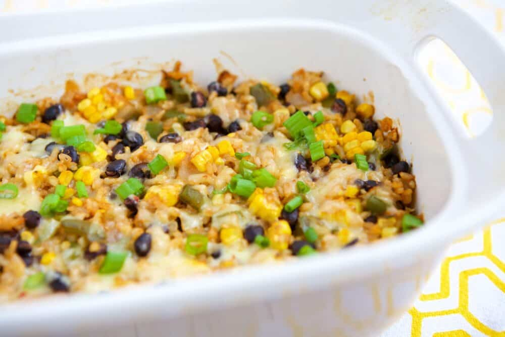 Vegetarian rice and bean casserole