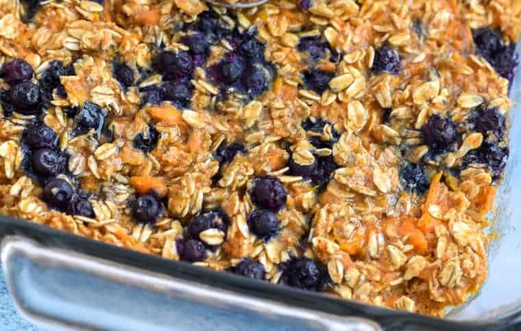 sweet potato blueberry oatmeal bake