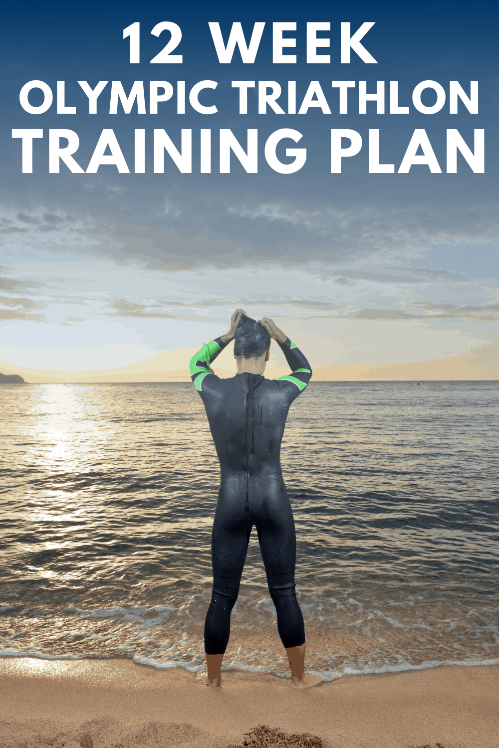 a woman standing outside by the water getting ready to train for a triathlon swim