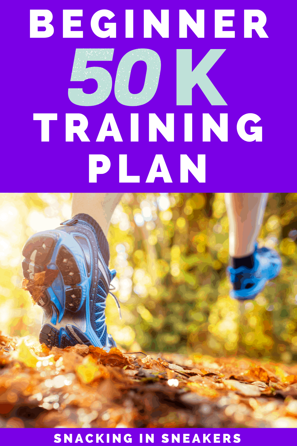 a person running outside in the fall training for a 50K