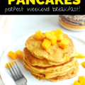 a stack of mango pancakes on a white plate next to a fork