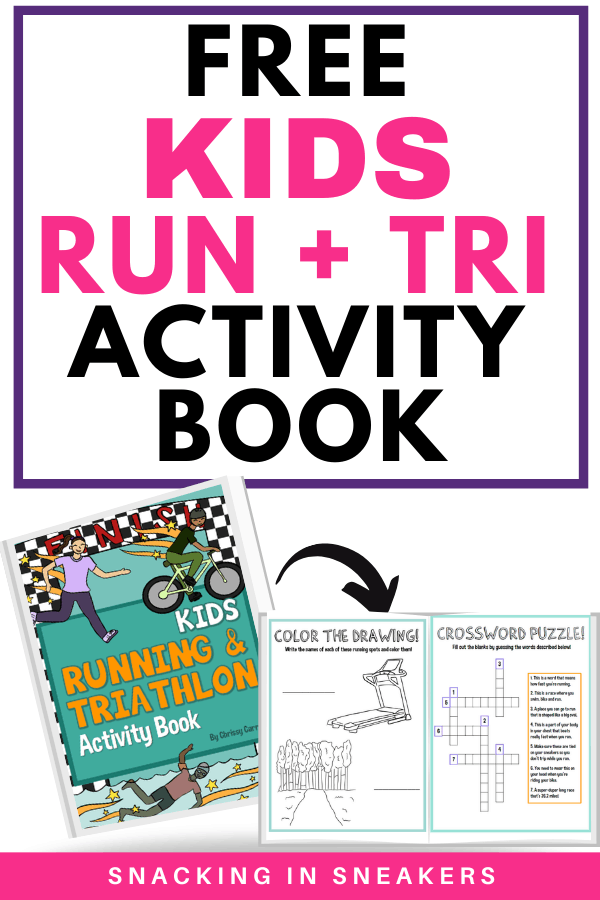 sample pages from the free kids activity book all about running and triathlon