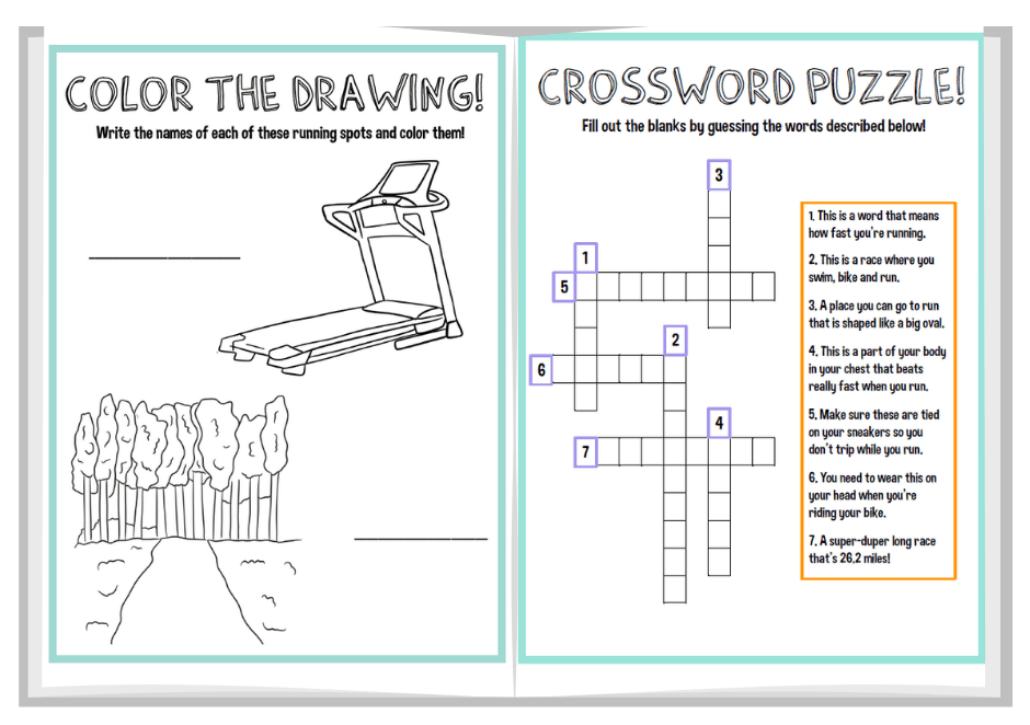 two sample pages from the kids running activity book