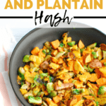 a skillet full of sweet potato brussels sprouts hash