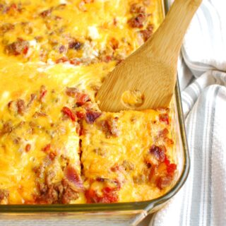 taco breakfast casserole in a glass dish