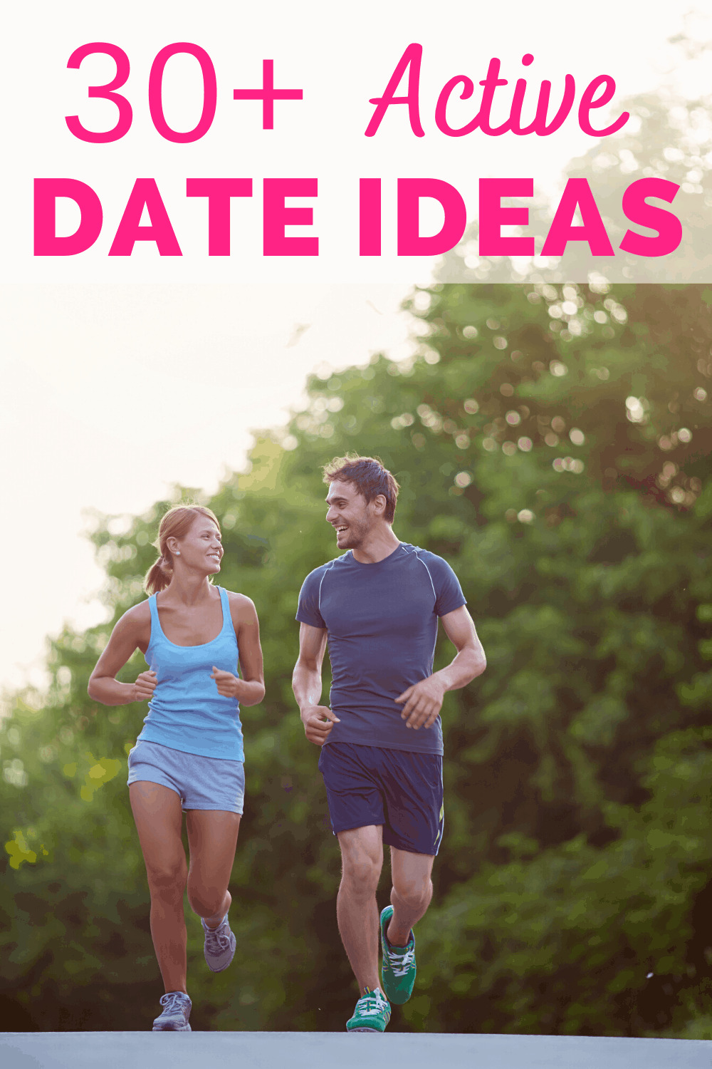a man and woman on an active date taking a run together