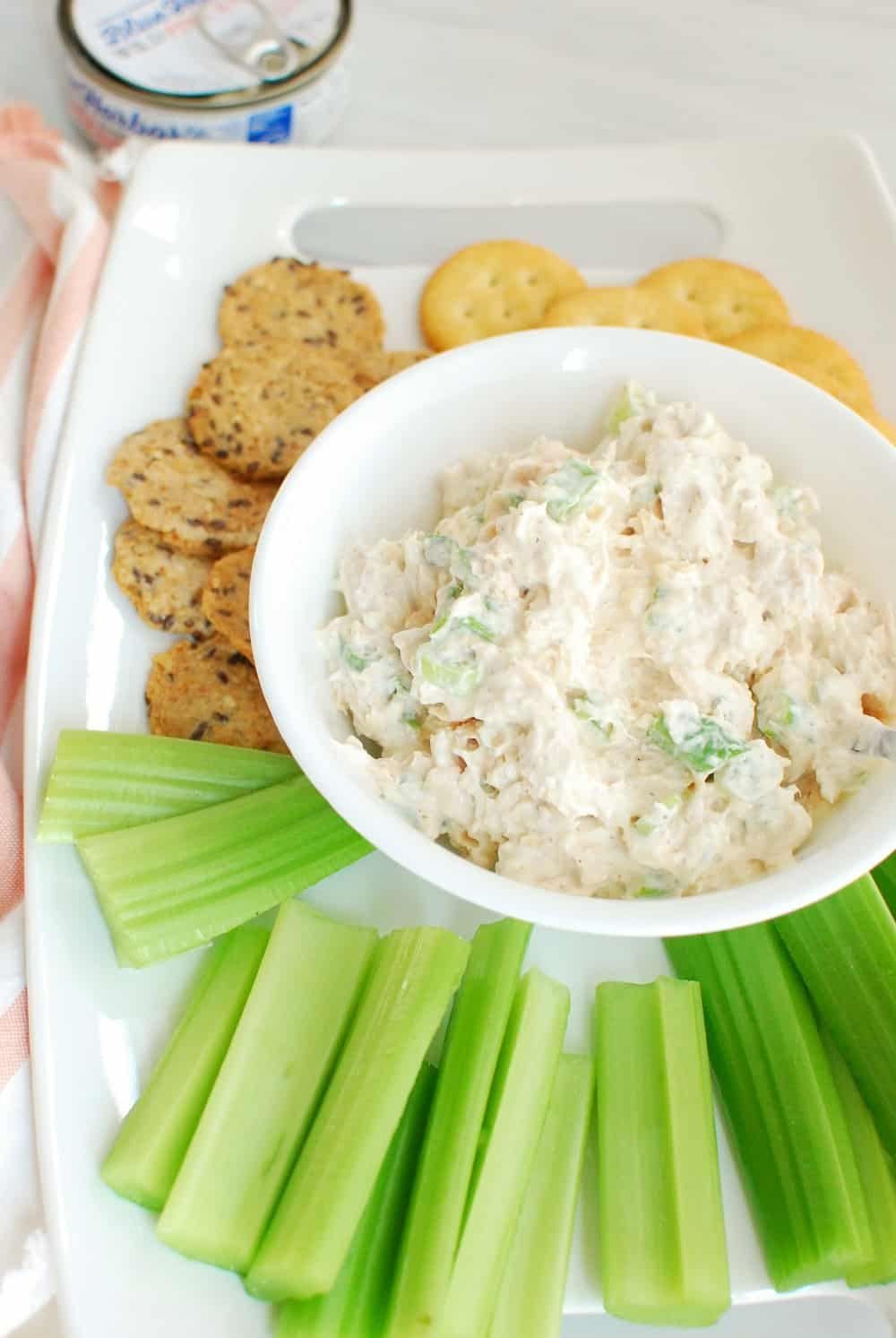 cold version of canned salmon dip next to celery sticks and crackers