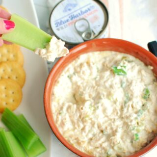canned salmon dip on a stick of celery