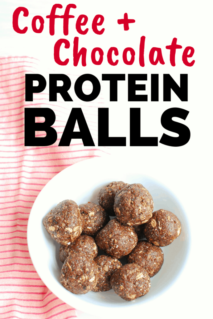 a bowl full of chocolate coffee protein balls