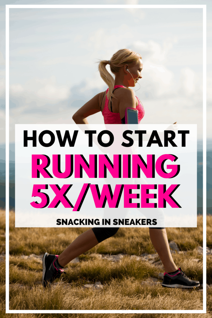 a woman running outside in the grass with a text overlay about how to start running 5 days a week