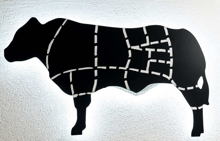 a cow illustration with different markings for where different cuts come from