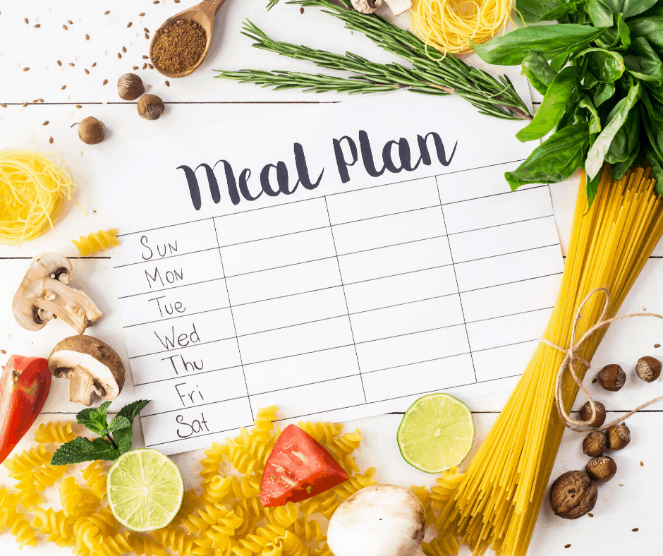 a paper with a weekly meal plan chart