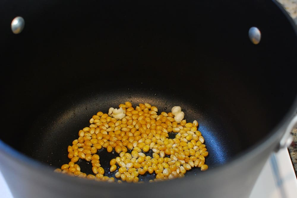 a pot with a bunch of popcorn kernels added into the oil