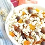 a bowl of popcorn trail mix