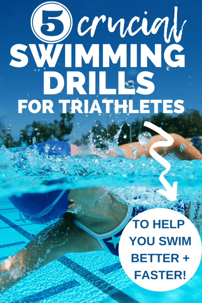 a woman swimming in a pool with a text overlay that says 5 crucial swimming drills for triathletes