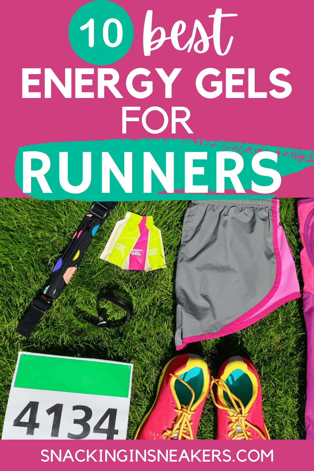 a flatlay of womans running gear with a text overlay that says 10 best energy gels for runners