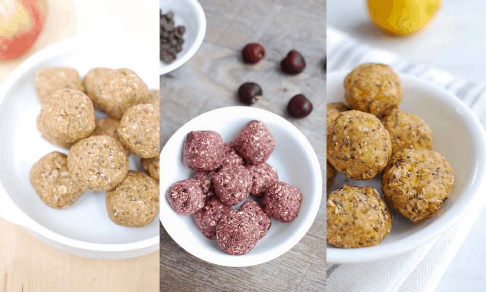 three different kinds of energy bites - apple peanut butter, chocolate cherry, and lemon