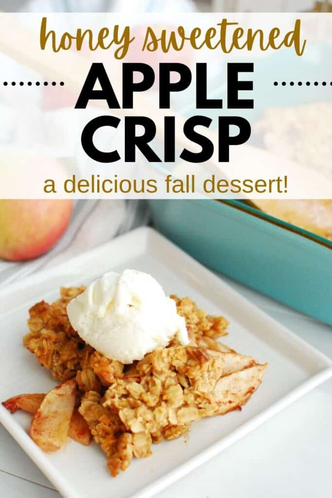 a white plate with honey apple crisp with a scoop of vanilla ice cream on top