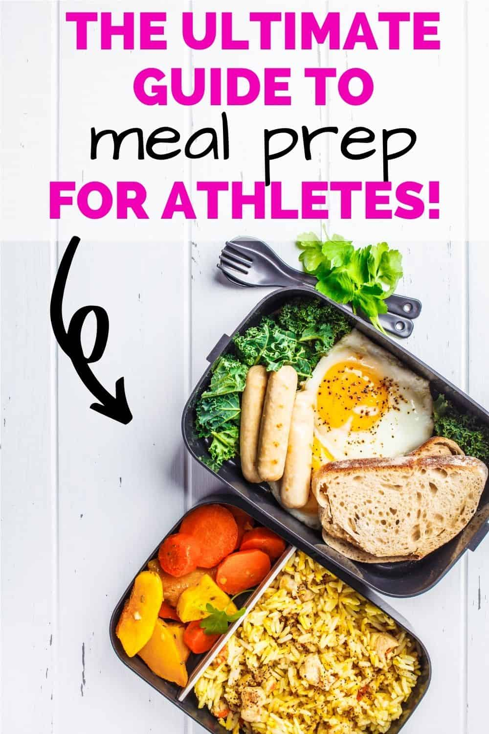 two athlete meal prep dishes filled with healthy food