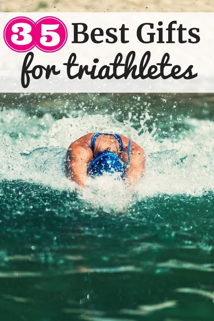 a woman swimming with a text overlay that says 35 best gifts for triathletes