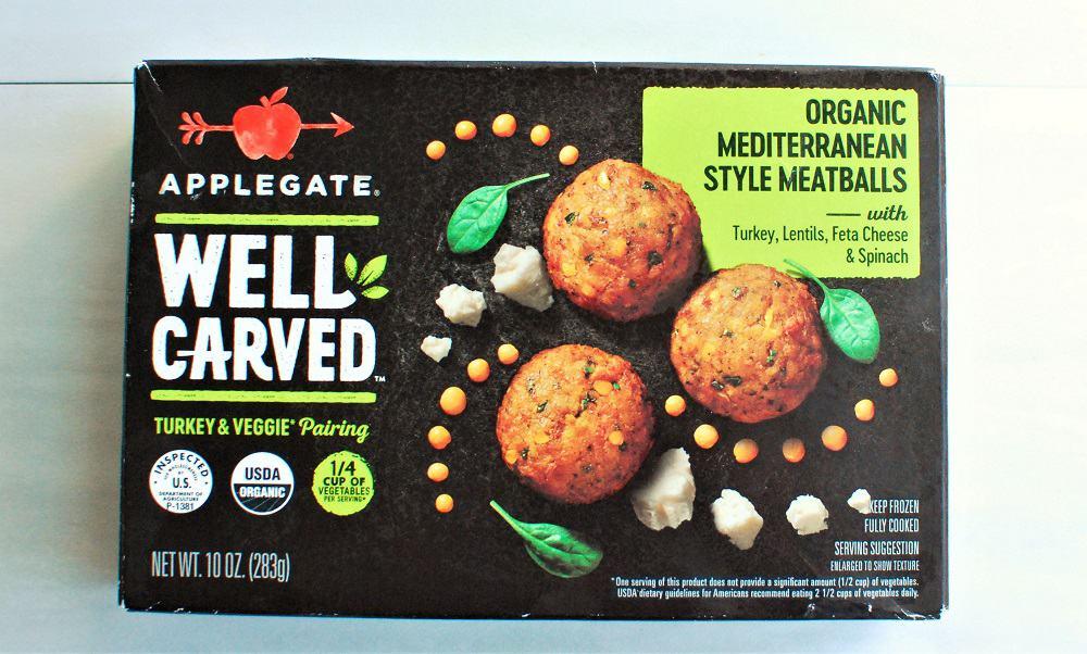 box of Mediterranean style turkey meatballs