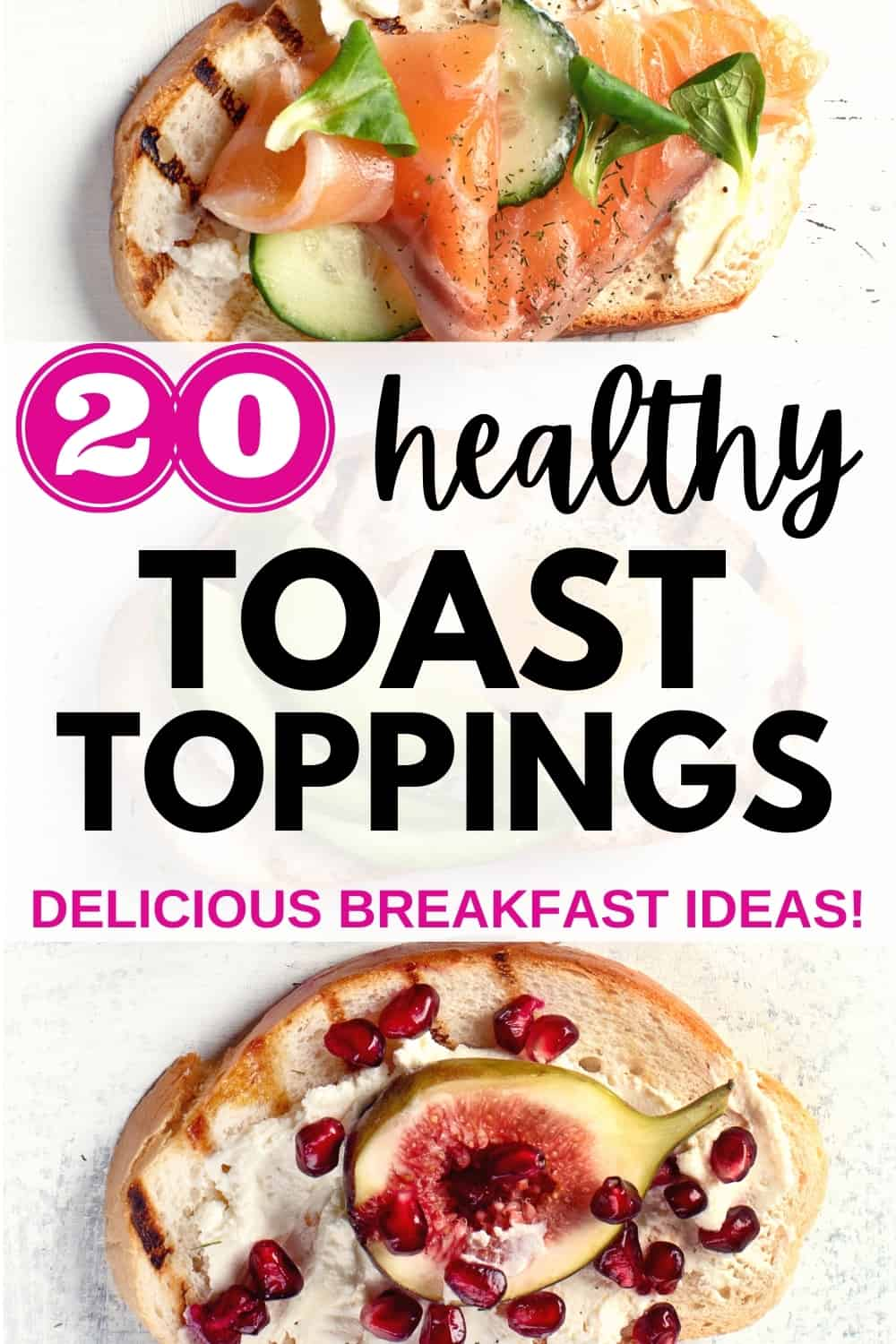 a piece of toast with salmon and cucumbers and a piece of toast with ricotta, figs, and pomegranate
