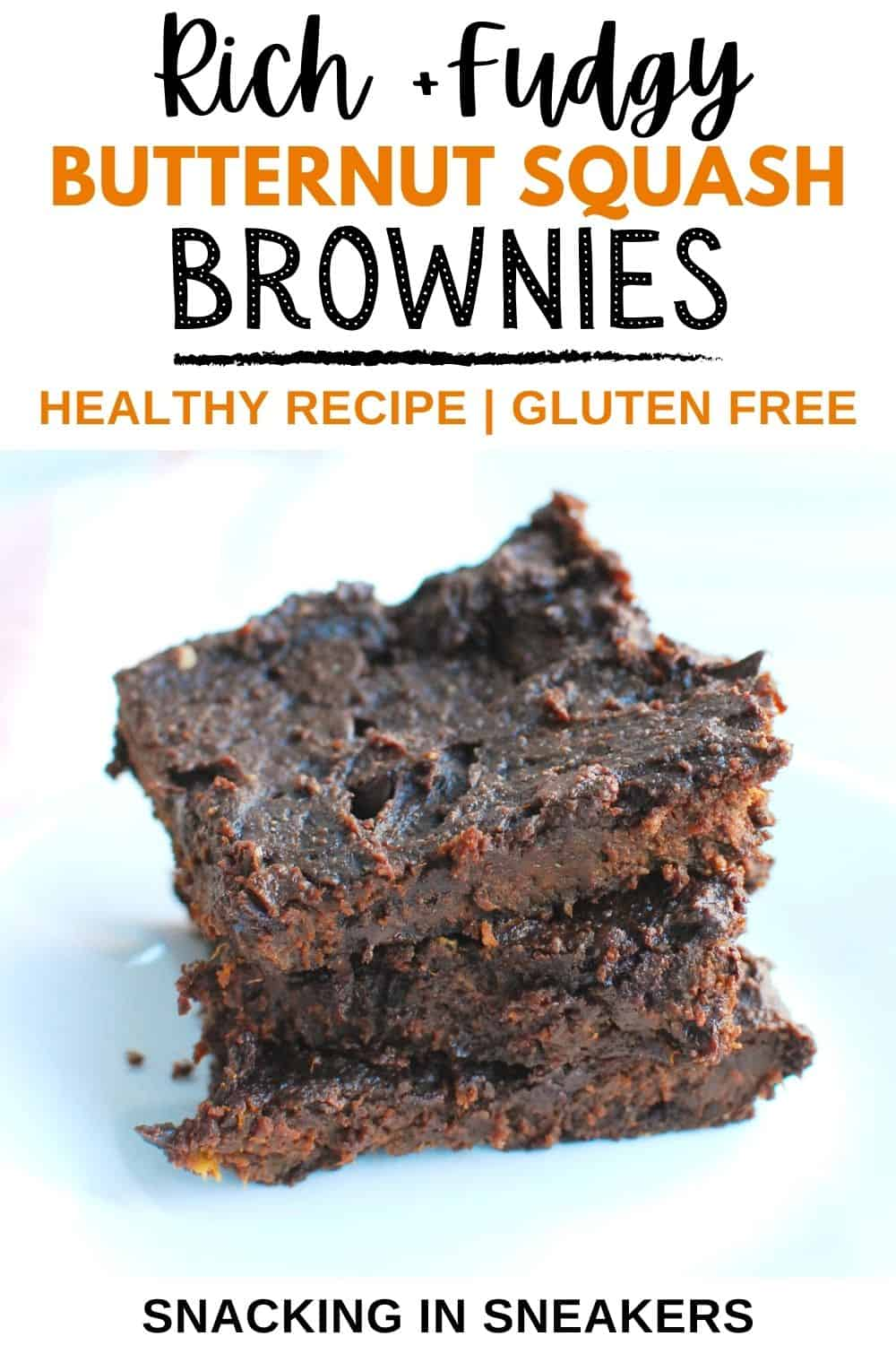 Butternut squash brownies on a white plate with a text overlay.