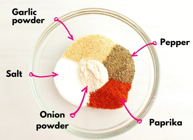 Salt, pepper, paprika, garlic powder, and onion powder in a small prep bowl.