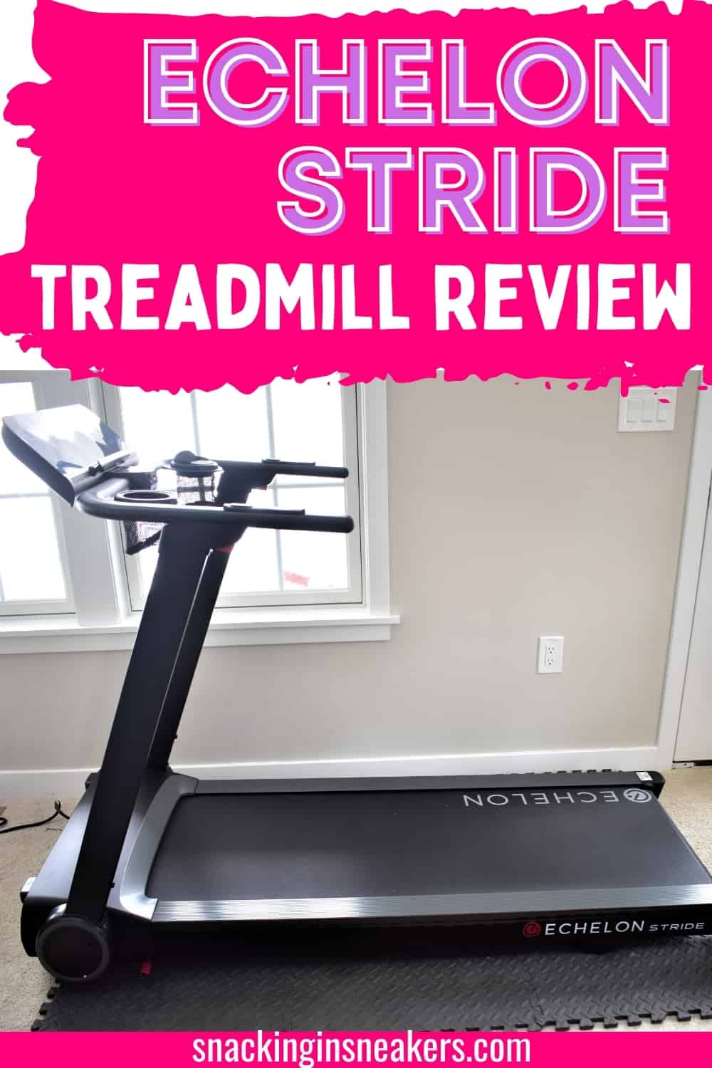 A treadmill on a heavy duty foam mat next to a window, with a text overlay that says