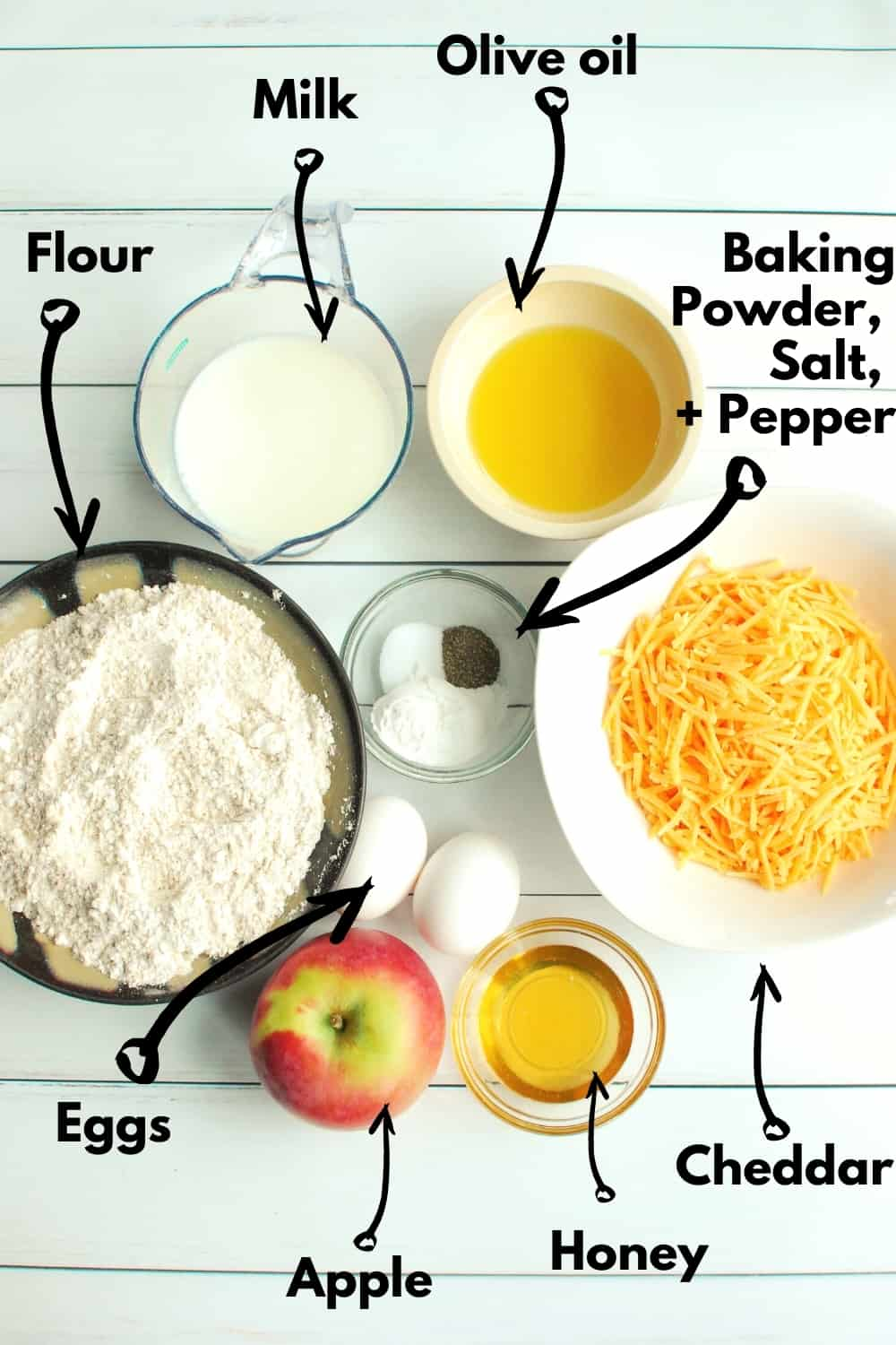 An overhead shot of all the ingredients to make the muffins.