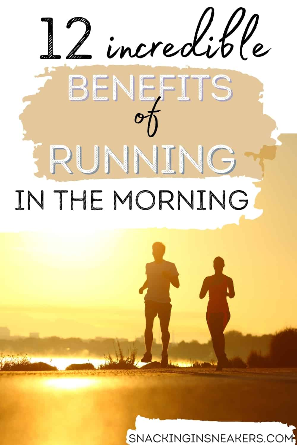 A couple running outside at sunrise, with a text overlay that says