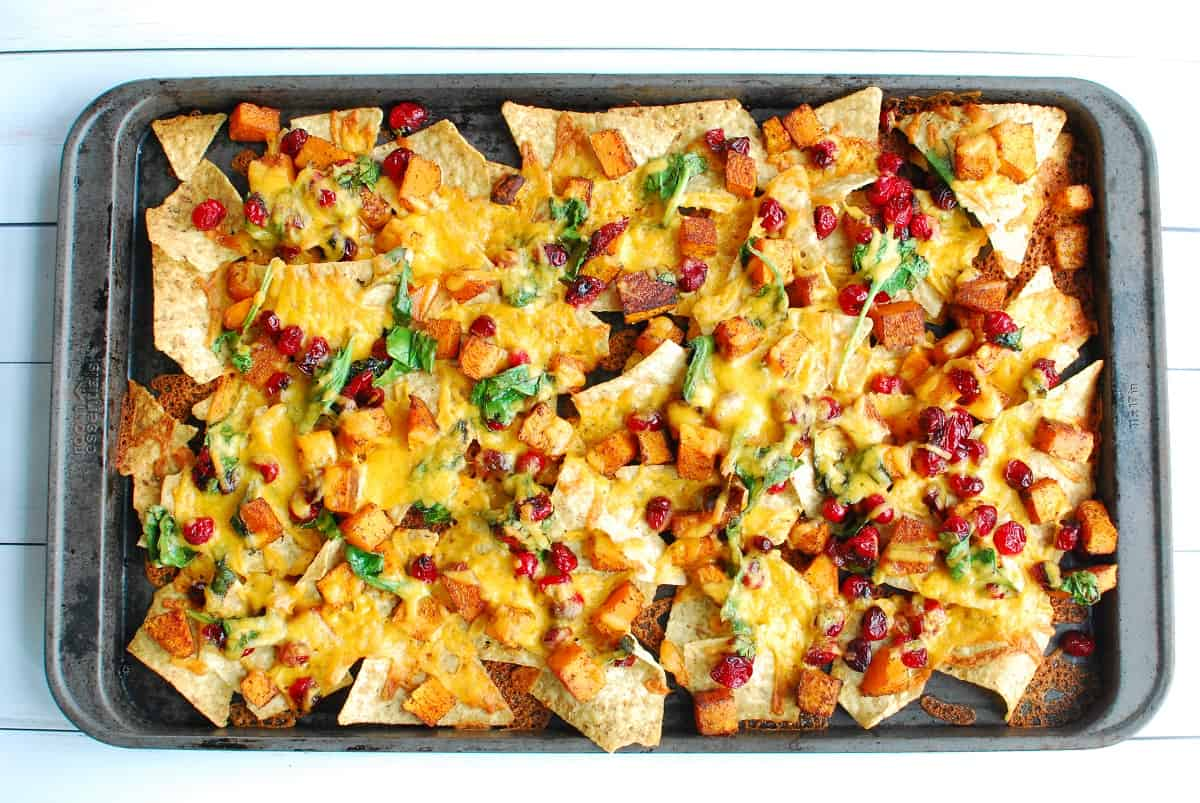 Sheet pan nachos after cooking in the oven.