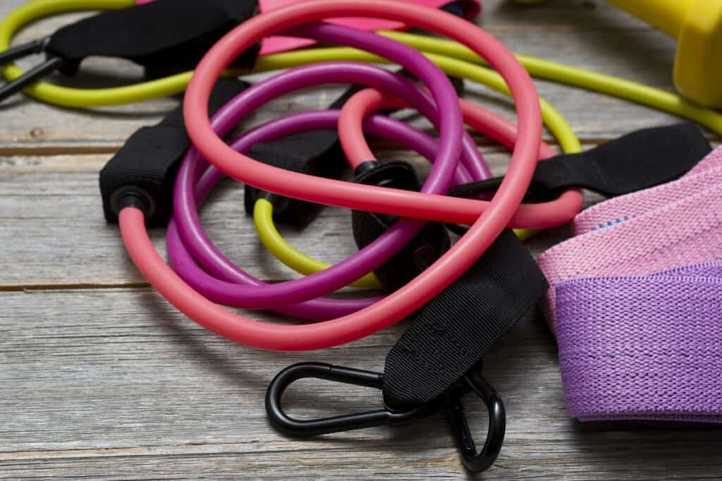 A pile of resistance bands.