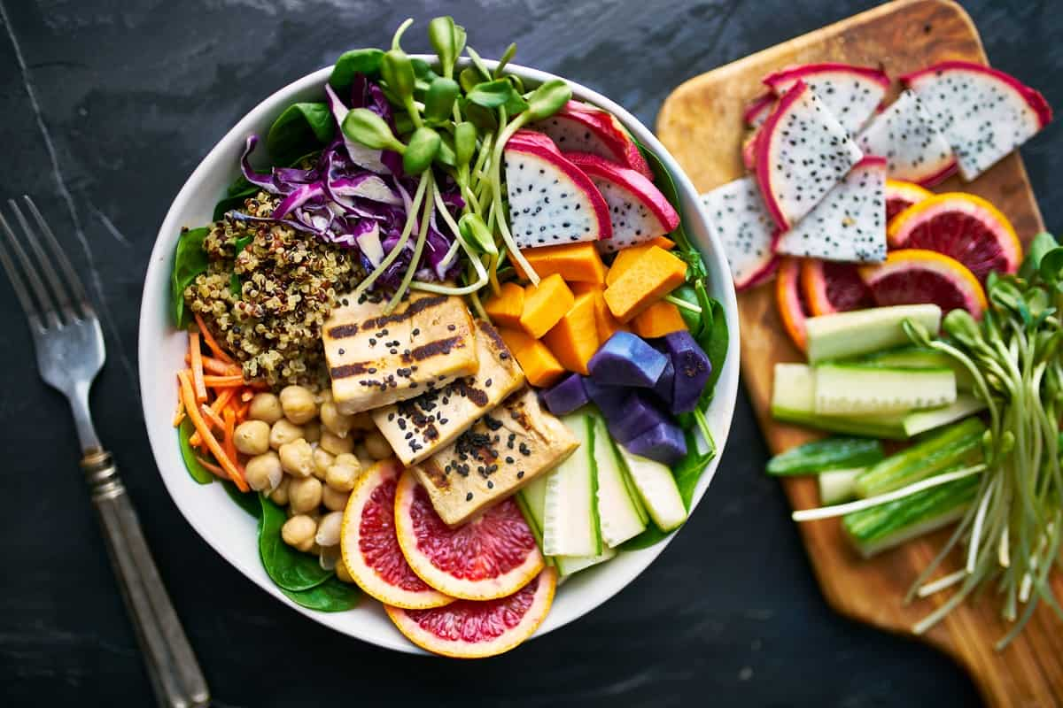 A tofu power bowl meal for a runner.